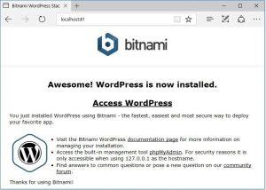 bitnamiサーバーサイトの画面